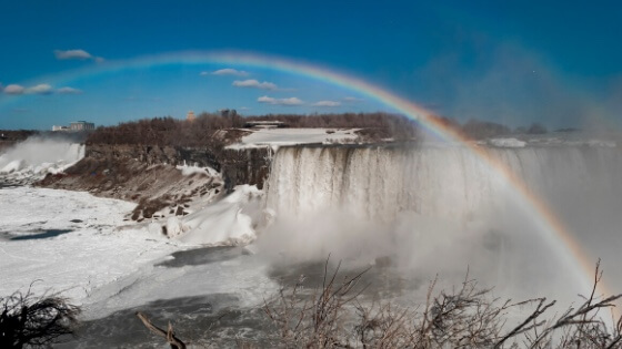 Waterfall with rainbow-finding hope in difficult times