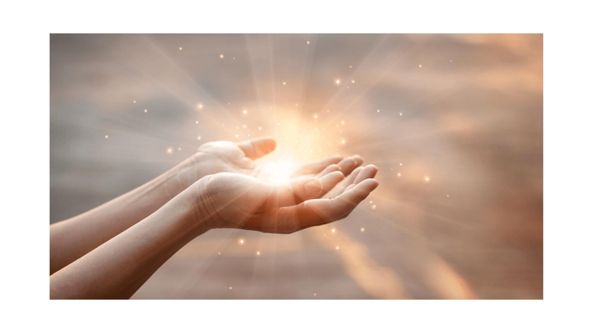 Hands holding light burst-Keeping Christ Close