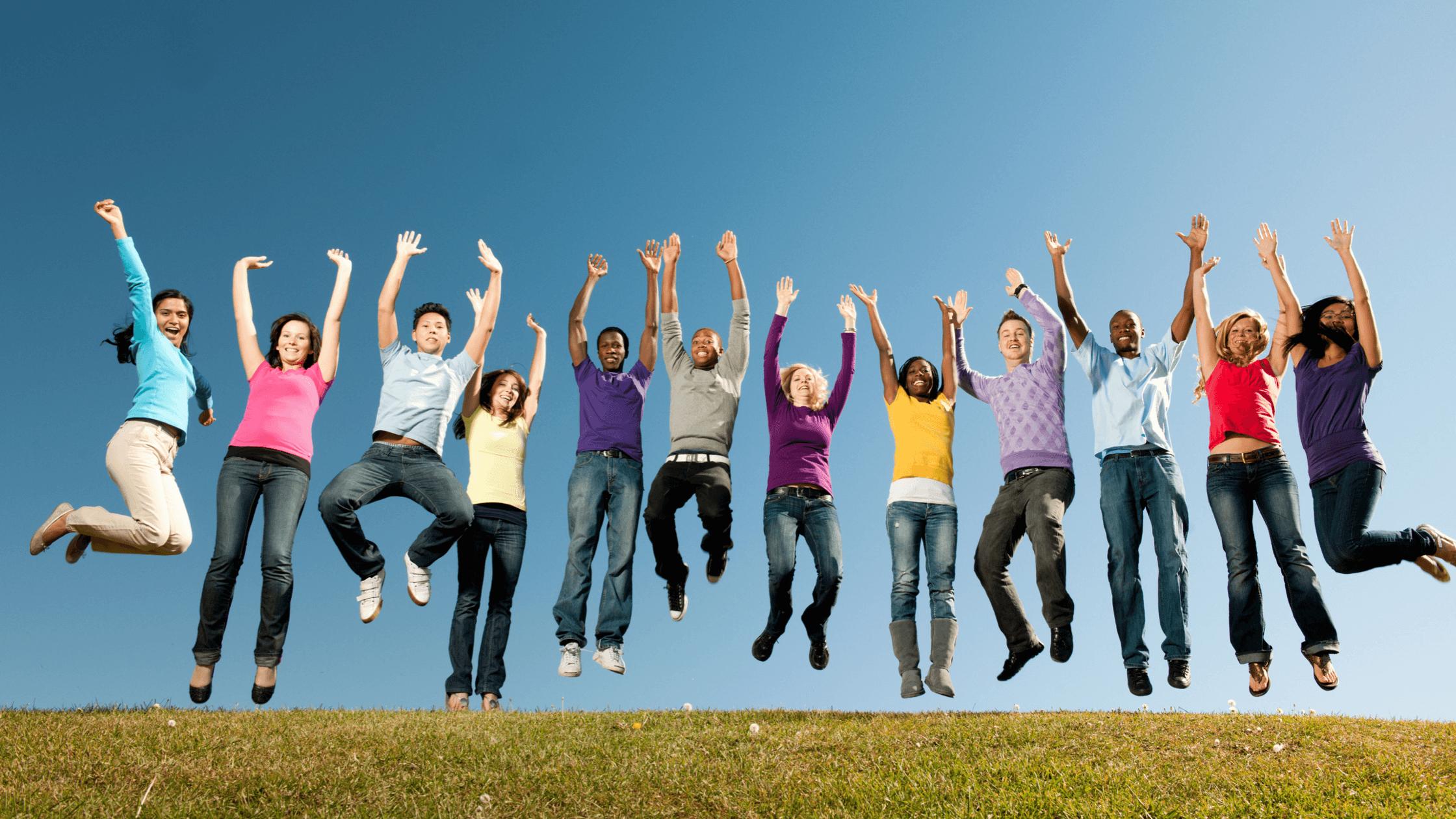 Teens jumping-raising teenagers