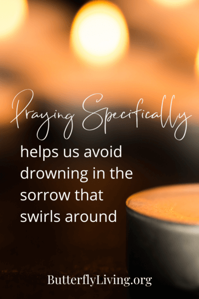 candle with words-pray specifically